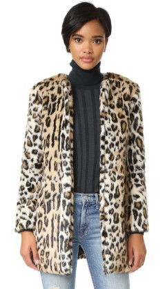 Wear it with a classic black turtleneck sweater like with this Elvina Faux Fur Leopard Coat http://bit.ly/2fF7dRT