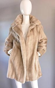 Vintage Lilli Ann 1960s Faux Fur Blonde Tan 60s Swing Jacket Coat