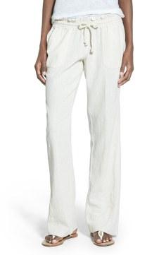 Roxy 'Oceanside' Drawstring Woven Linen Blend Pants Now $23.70 Orig $39.50