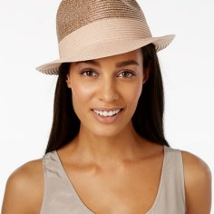 Macy's Metallic Straw Fedora Now $15.99 Orig $28.00