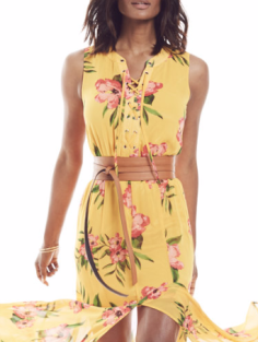 NY&Company LACE-UP MAXI DRESS - FLORAL Now $39.95 Orig $79.95