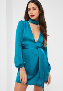 blue silky choker neck swing dress MISGUIDED