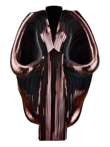 """Iris van Herpen, """"Hybrid Holism,"""" Dress, July 2012, Metallic coated stripes, tulle, and cotton, Collection of the designer, Photo by Bart Oomes, No 6 Studios"""