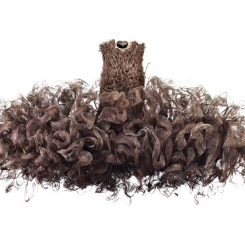 "Iris van Herpen, ""Refinery Smoke,"" Dress, July 2008, Untreated woven metal gauze and cow leather, Groninger Museum, 2012.0196, Photo by Bart Oomes, No 6 Studios"
