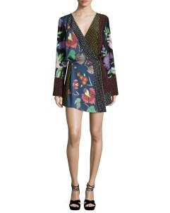 Diane von Furstenberg Floral & Dot Print Silk Jersey Dress, Multicolor $498.00