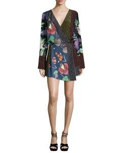 Diane von Furstenberg Floral & Dot Print Silk Jersey Dress, Multicolor $498.00