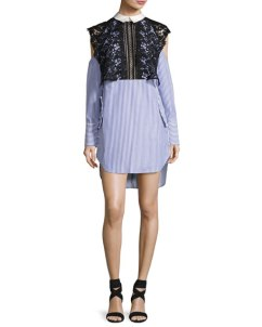 Self-Portrait Striped Cold-Shoulder Shirtdress with Lace Cape, Navy/White $410.00
