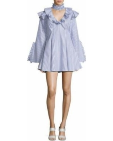 Caroline Constas Micki Choker-Collar V-Neck Ruffle-Trim Dress, Blue/White Stripe $495.00