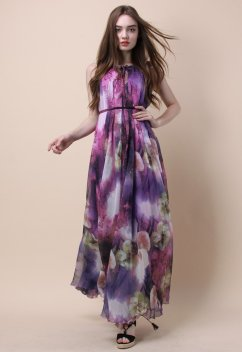 Mysterious Purple Floral Maxi Slip Dress $61.97