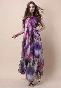 Mysterious Purple Floral Maxi Slip Dress $61.97