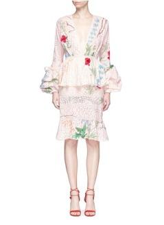 JOHANNA ORTIZ 'VITTORIA' EMBELLISHED FLORAL EYELET LACE DRESS $2,700