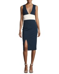 Lise Colorblock Sleeveless V-Neck Sheath Dress, Blue/White $1,100.00
