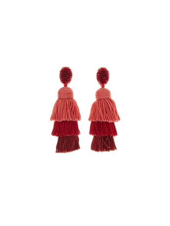 LONG SILK TIERED TASSEL EARRINGS $450 www.oscardelarenta.com